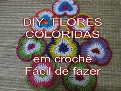 DIY - FLORES COLORIDAS DE CROCHÊ - Faça Você Mesmo