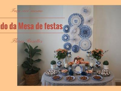 Diy-Painel para mesa de festas-flores rosetes