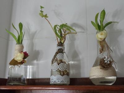Diy - PAP - Decoração de 3 garrafas (vidro) com barbante, flor de juta e toalhinha - Graça Tristão