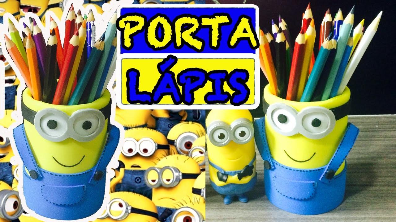 DIY Porta Lápis dos Minions - Volta as aulas Faça você mesmo|Tatiane Xavier