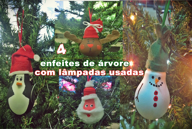 Especial de Natal :Diy- 4 enfeites de árvore feitos com lâmpadas usadas  Andreza Farias