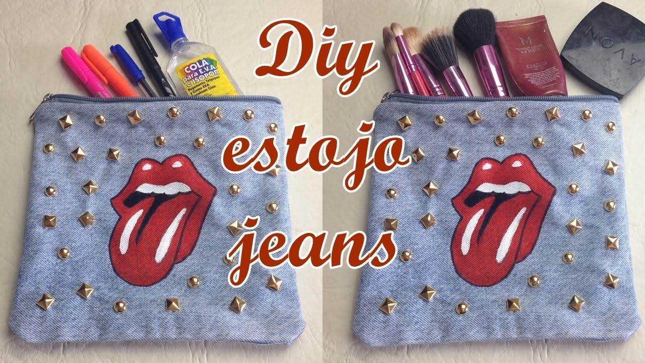 Estojo.Necessarie jeans com forro feito a mão Diy - Customizei meu closet