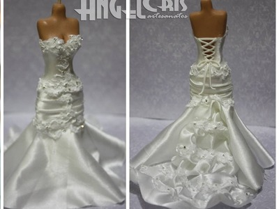 Noiva em biscuit com estrutura de cone de papel e vestido em tecido