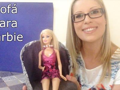 Poltrona Sofá para Boneca Barbie feita com Caixa de Leite - DIY