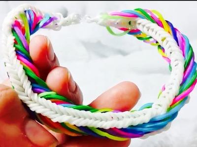 Rainbow Loom:Pulseira De Elástico(SEVEN LINK FISHTAIL)Gomitas-LOOM BANDS