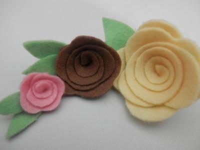 Rosa de feltro 3 - Artesanato passo a passo