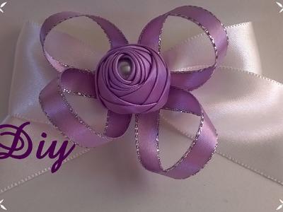 Rosinha de fita de cetim enrolada com pérola DIY \ Rosie's rolled satin ribbon with pearl  DIY