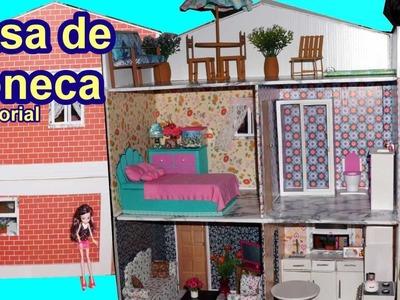 Tutorial: Como fazer uma casa de boneca de papelão para Barbie, Monster High, Frozen, EAH, EG, etc