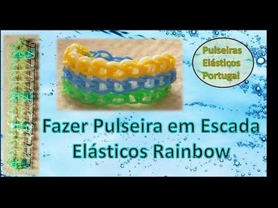 Tutorial video fazer pulseira em escada elasticos rainbow loom elasticos portugal