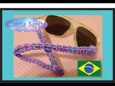 Como fazer um cordão para  óculos de elásticos Rainbow loom #23
