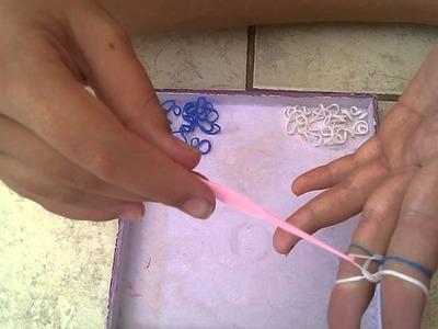 Como fazer uma pulseira rainbow loom (grossa).