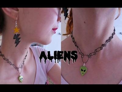 D.I.Y Acessórios Cyberpunk | Tendência Aliens - Brincos e Tattoo Choker