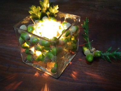 Decoração com velas para o outono - DIY - Decoration with candles and acorns