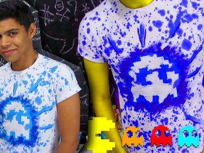 DIY: Camisa personalizada STENCIL invertido, SUPER FÁCIL E BARATA!! #pacman