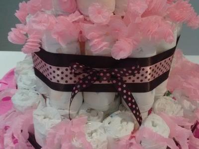 DIY - Como fazer bolo de fraldas?  Bolo marrom e rosa