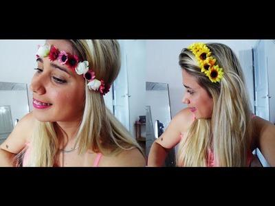 DIY - Como fazer coroa de flores mais Tiara de Girassol - Arrasar no Carnaval