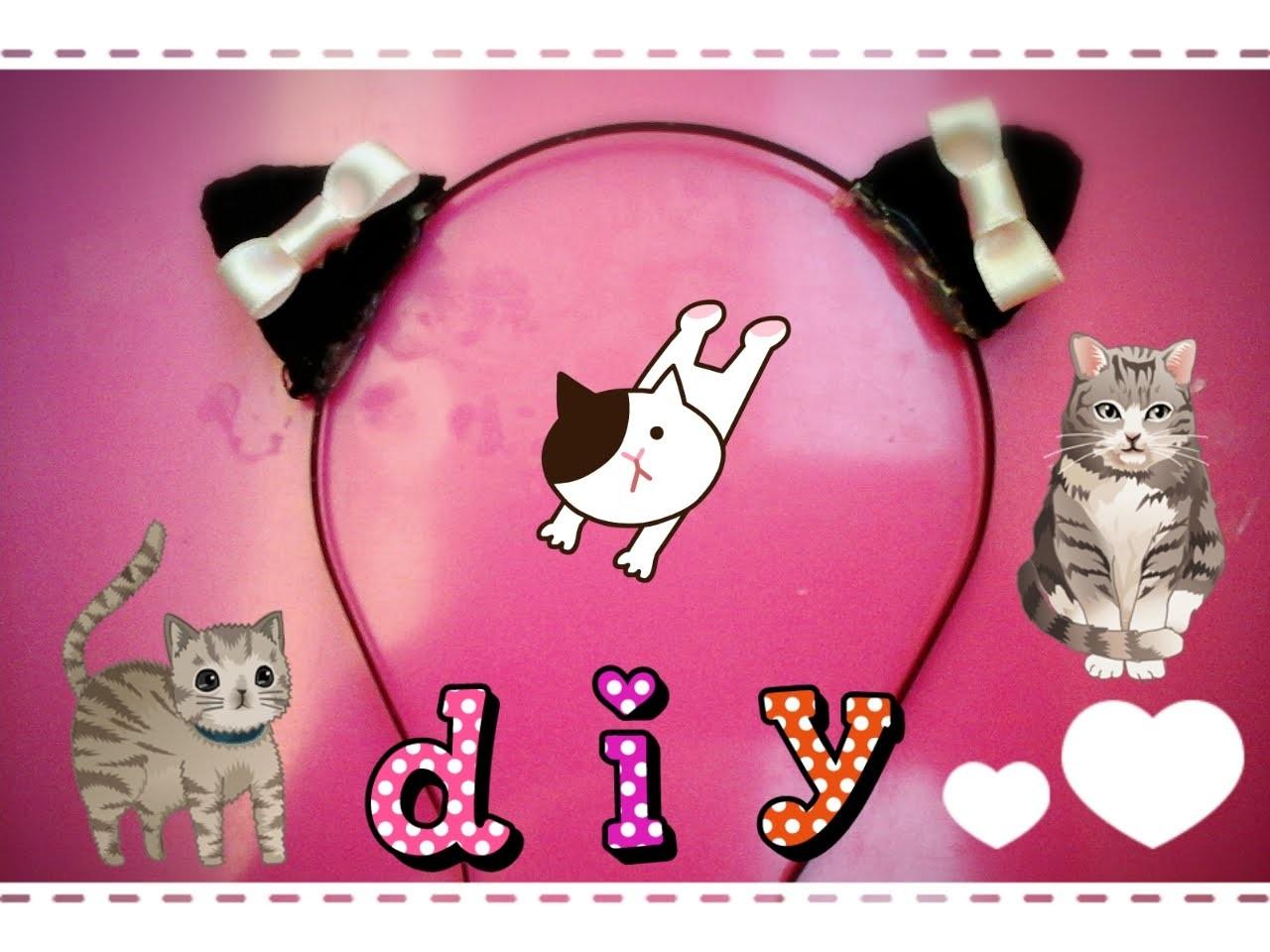 DIY|Como fazer orelhas de gato kawaii(Super Fácil) 猫耳