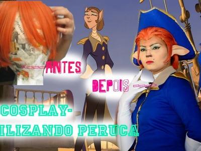 DIY COSPLAY - ESTILIZANDO PERUCA , CAPITÃ AMELIA. CAPTAIN AMELIA FROM TEASURE PLANET STYLING WIG