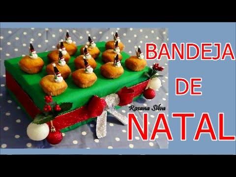 DIY DECORAÇÃO DE NATAL BANDEJA SUPORTE  para BOLO DOCE CUPCAKES e ASSADOS  feito de PAPELÃO