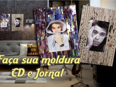 DIY:::Faça sua própria moldura de CD e jornal Muito fácil | Canal Monarca