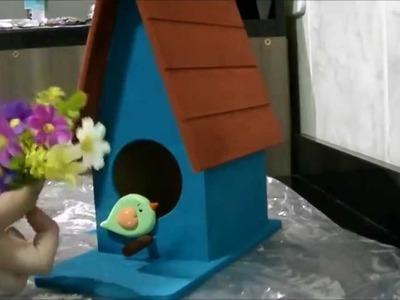 DIY ♡ Pintando peça em MDF ( casinha de passarinho )