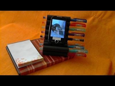 DIY Porta Recados e Porta Celular feito com capa de DVD e rolinhos de bobinas de cupom fiscal