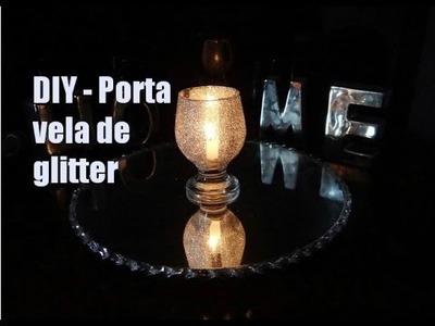DIY Porta vela glitter