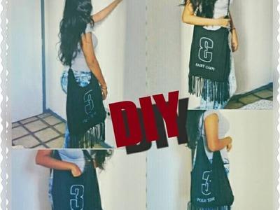 DIY- T-shirt Bag| Faça você mesmo- Bolsa de franja feita com apenas uma blusa