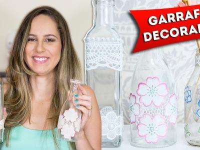 Faça Você Mesmo - Garrafas de Vidro Decoradas Artesanato Passo a Passo Reciclagem Decoupage Diy