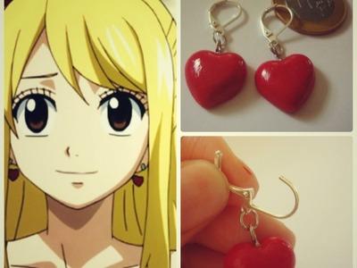 Lucy de Fairy Tail brincos de coração. polymer clay earrings stud
