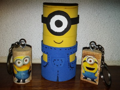Minions de eva 3d com rolo de papel - DIY - Minion of eva and paper roll