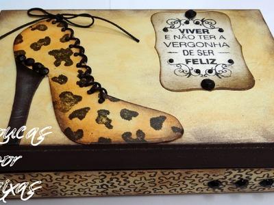 Passo a passo caixa sapato fundo animal print - com carimbos Loucas por caixas