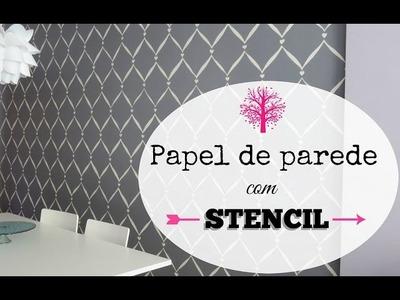 PINTURA COM STENCIL DIY - PAPEL DE PAREDE | #POCFazendoArte Ep. 33