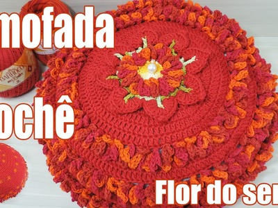 """Almofada de crochê - Flor do Sertão """"Soraia Bogossian"""""""