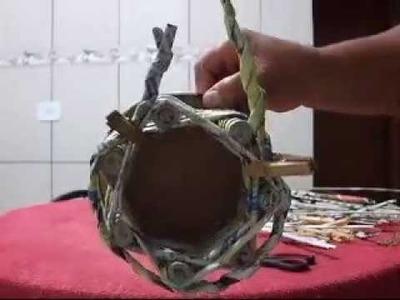 Cachepô (porta vasinho de papel) - artesanato com jornal