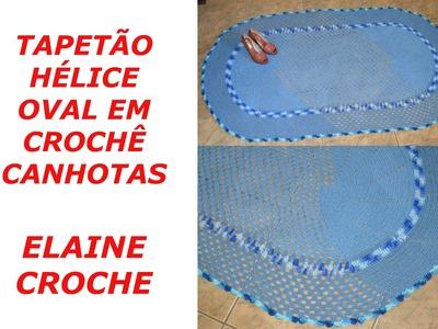 CROCHE PARA CANHOTOS - LEFT HANDED CROCHET - TAPETÃO HÉLICE OVAL CROCHÊ CANHOTAS