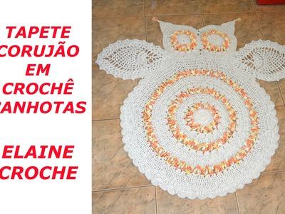 CROCHE PARA CANHOTOS - LEFT HANDED CROCHET - TAPETE CORUJÃO EM CROCHÊ CANHOTAS