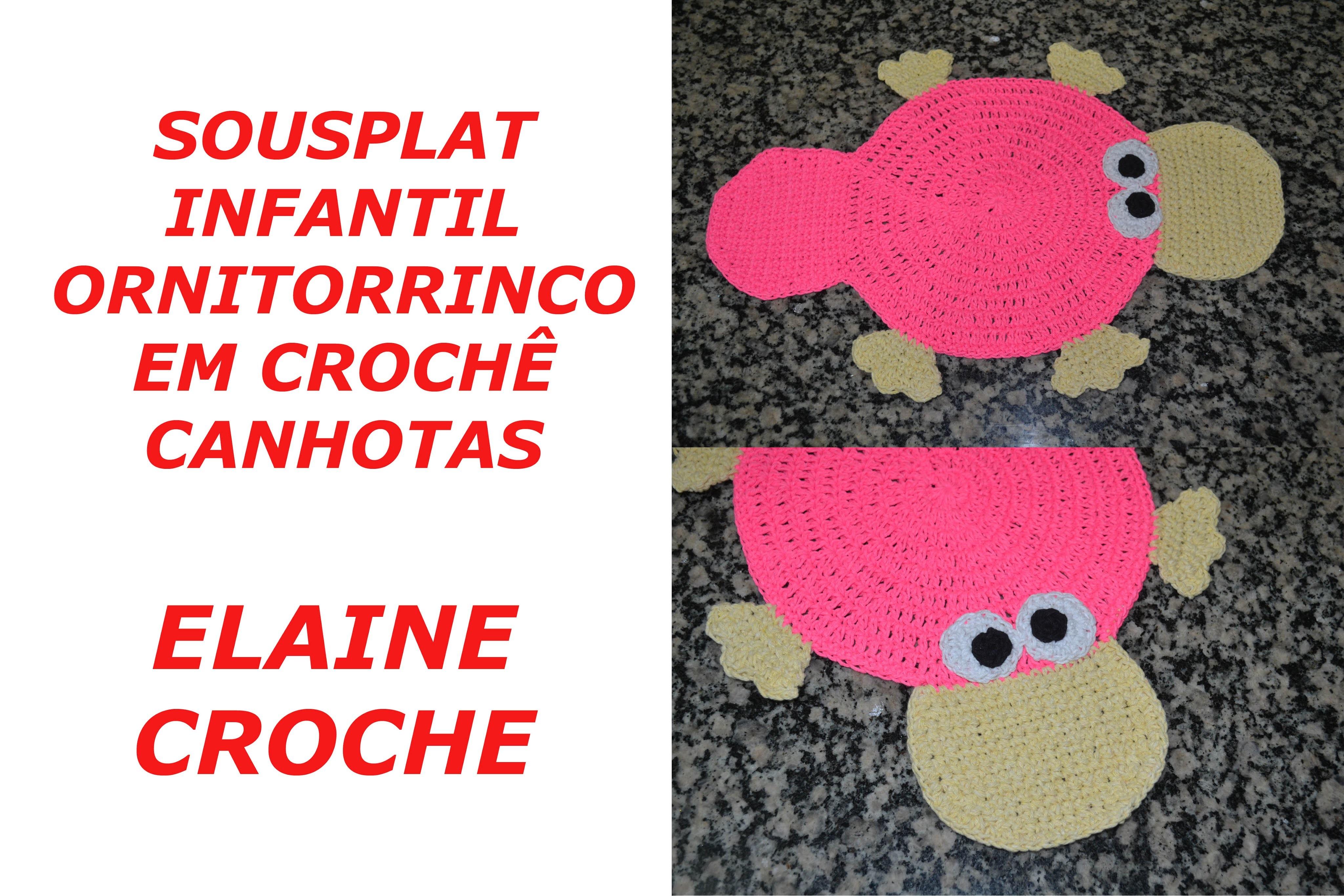 CROCHE PARA CANHOTOS - LEFT HANDED CROCHET - SOUSPLAT INFANTIL ORNITORRINCO EM CROCHÊ CANHOTAS