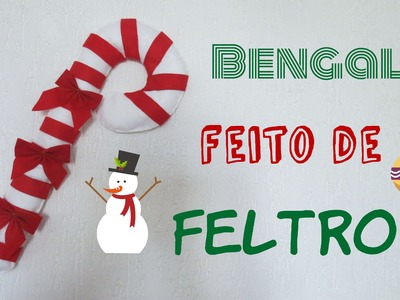 DIY - Decoração de Natal  -  Bengala feita de Feltro