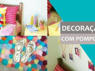 DIY - Decoração do quarto com pompons | Almofada de pompom, tapete de pompom e mais!
