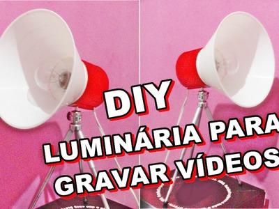 ♥ DIY ♥ Luminária feita com abajur e tripé ♥