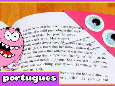 DIY Monster Bookmarks   Como Fazer Monstro marcador de livros   HooplaKidz Portugues