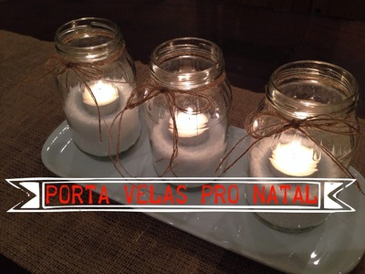 Diy-Porta velas com neve dia # 12
