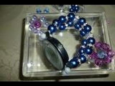 DIY: Pulseira   de pérola linda  azul   para relógio