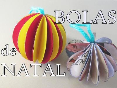DIY saiba como fazer lindas  bolas de natal de papel cartolina e revista