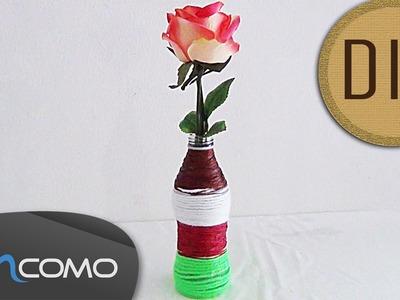 DIY - Vaso Decorativo feito com Garrafa em Vidro e Linha