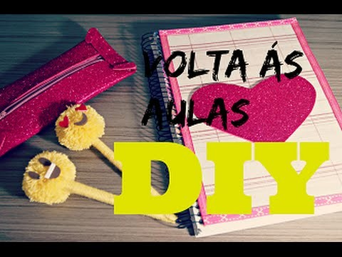 DIY - Volta às AULAS caderno Estojo de glitter e canetas de emoji