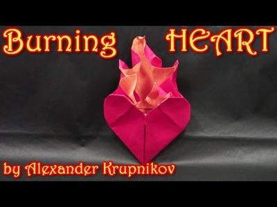 Origami Burning Heart  by Alexander Krupnikov -  Yakomoga Origami tutorial