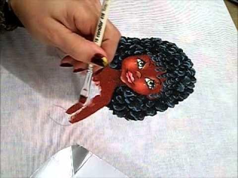 Pintura em tecido - Boneca Marli - Como pintar boneca negra 2.2 - how to paint black doll