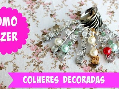 COMO FAZER COLHERES DECORADAS.BORDADAS - DIY